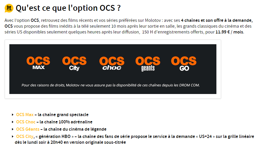 molotov tv ocs games of thrones prix